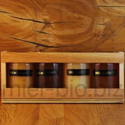 Coffret 4 pots de 125g de miel bio variés